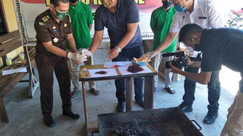 Polres Mimika Musnahkan BB Narkotika Jenis Tembakau Sintetis 17,69 Gram