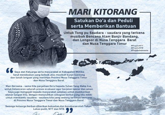 Wabup John Rettob Ajak Masyarakat Mimika Bantu Korban Bencana NTT